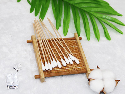 "6"" Wooden medical clean skin and disinfection wipe cotton sticker swab"