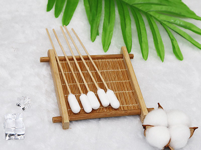 "6"" Wooden medical oral care wipe cotton swab q-tips"