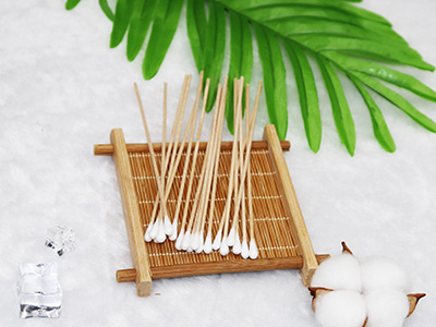 "6"" Wooden Chemical examination and Extract liquid Cotton q-tips applicator"